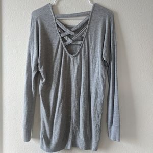 Athleta Crisscross Back Gray Sweatshirt